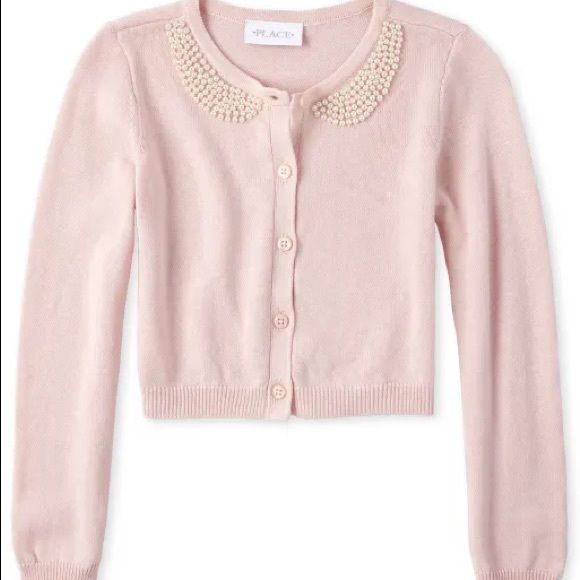 Place Girls Faux Pearl Cardigan Sweater